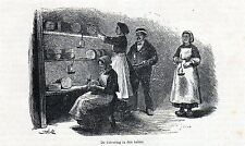 Antique print Roquefort / cheese making /  France 1876 gravure