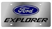New Ford Explorer Blue Logo Stainless Steel License Plate