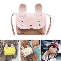 Baby Girls Mini Messenger Bag PU Leather Handbag Lovely Rabbit Crossbody Bag