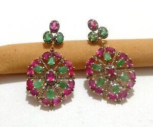 925 Sterling Silver Emerald Diamond Women Jewelry Natural Ruby Gemstone Earring