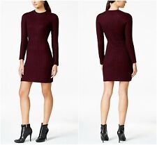 NEW!  Calvin Klein  Large   Augergine Cable Knit Crew Neck Sweater Dress