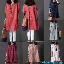 Women Embroidered Cotton Linen Casual Long Blouse Maxi Shirt Dress Wine Red XL