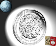 Lunar Silver Coin Dragon 1/2oz 0,5 $ Australia PROOF COA+Box, Mintage 4,000