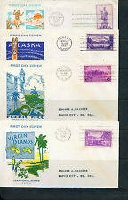 1937 FDC - Scott# 799-802 - Territories - Pavois Cachet  #2  (4 covers)  ADD