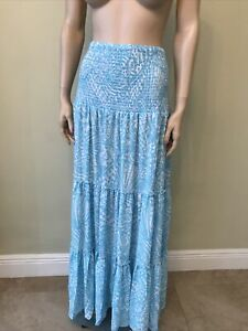 Lilly Pulitzer Hanalei Skirt Succulent Blue Sea Cups Size XL NWT