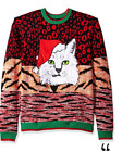 Blizzard Bay Men's Ugly Christmas Sweater Cat, Orange/Red, Large ~ Z66