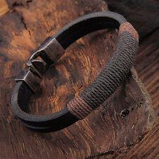 New Surfer Men's Vintage Hemp Wrap Leather Wristband Bracelet Cuff Black Brown