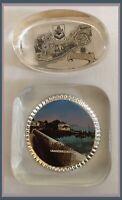 Vintage Bermuda Glass Paperweights - Lot Of 2 - Bermuda/Fisherman's Home  (W917)