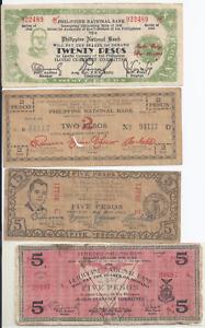 Notgeld Philippinen 1941,42,44 Pesos 1,2,5, 10,20 Lot 13 Stück Banknoten