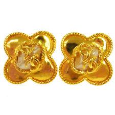 "Auth CHANEL Vintage CC Logos Imitation Pearl Earrings Clip-On 1.3 - 1.3 "" V05979"