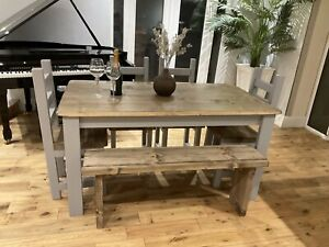 Rustic,farmhouse Dining Table, 4 Chunky Chairs And A bench.