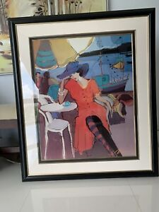 Isaac Maimon Lithograph Lady In Red Dress