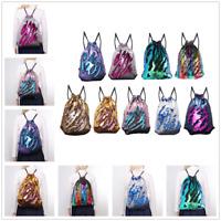 Womens Girl Mermaid Sequin Paillette Sport Outdoor Drawstring Schoolbag Backpack