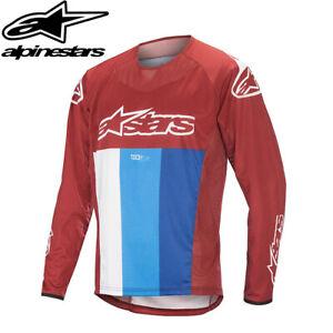 Alpinestars Techstar Long Sleeve Mens MTB Jersey - Burgundy/White/Blue - Size L