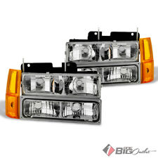 For 94-98 GMC C/K Pickup Crystal Clear Headlights w/ 4pcs Corner & Signal Lights