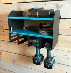 Makita Blue Drill Driver Power Tool Shelving Storage Workshop Organiser Tool Box