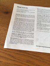 Ravensburger stop and go 1971 istruzioni di gioco di ricambio di ricambio Y74