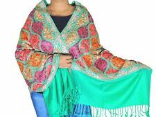 """Shamrock Green Kashmir Embroidery Wool Dress Wrap Evening Shawl Trendy Scarf 80"""""""