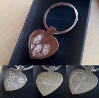 Personalised customised engraved  Photo &  text Engraved  Keyring - Free Giftbox
