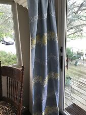 """blue / yellow flowers Bates CURTAINS VINTAGE 50'S NOS /TAG pleared tops 85"""""""