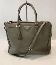 Prada Large Saffiano Lux Leather Bag 2 Way Double Zip  Shoulder Handbag Black