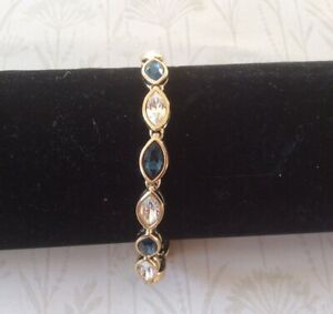 Gold Plated Sapphire Marquise Cut Crystal Bracelet