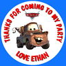24 GLOSS PERSONALISED DISNEY CARS MATER BIRTHDAY PARTY BAG SWEET CONE STICKERS