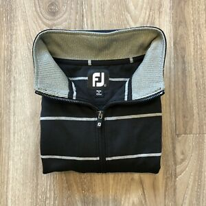 FootJoy FJ Golf 1/4 Zip Long Sleeve Striped Pullover Shirt L Black Gray EUC!