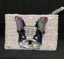 Boston Terrier Coin Purse Black White Silver Sequin Beaded Lined Bag Unique HTF