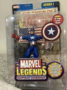 Marvel Legends Captain America Series 1 w/ Bonus 32 pg Comic ToyBiz NIB 2002