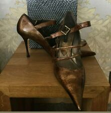 NEW designer El Dantes Faith Solo gold pointy toe heels size 6 UK 39 eu rrp £160