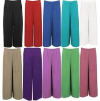 Womens 3/4 Plain Elasticated Stretch Wide Leg Trouser Ladies Culottes Shorts