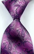 New Classic Paisley Striped Magenta JACQUARD WOVEN 100% Silk Men's Tie Necktie