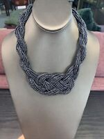 """Vintage Marcasite Color Glass Woven Seed Bead Necklace 16"""" Inches Long"""