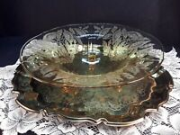 Three Footed Antique  Yellow Depression Glass Large Flower Pattern 11""