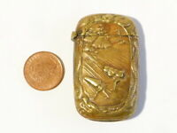 Antique Brass Vesta Case Asian Farming Scene + Chinese Dragons UNUSUAL  #V65