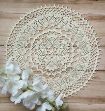 Hand crocheted lace white milk doily cotton handmade vintage home decor