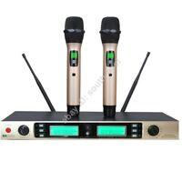 Pro 2x100Channel Golden Handheld Wireless Speech Sing Karaoke Microphone System