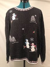 UGLY CHRISTMAS SWEATER TACKY HOLIDAY CUTE SNOWMAN BLACK WOMENS XLARGE MENS LARGE