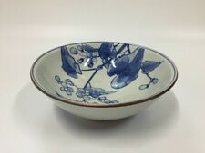 Japanese Pottery Donburi Bowl Vtg Signed Kutani Ware Sometsuke Hand Paint S283