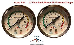 "2 Air Compressor Pressure/Hydraulic Gauge 2"" Face Back Mount 1/8"" NPT 0-200 PSI"
