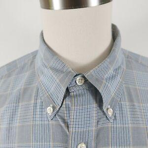 Brooks Brothers Mens Cotton LS Button Up Black Blue Beige Plaid Dress Shirt XL