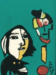 "Folk Art by Leon Collins: Giclee Reproduction of ""Picasso-Esque"" 16"" by 20"""