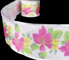 """2 Yds Pink Flowers and Greenery White Wired Ribbon 2 1/2""""W"""