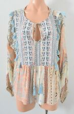 The Poetic Gypsy Top Size 10 Purple Blue Beige Embroidered Smock Blouse