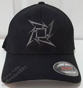 Metallica Black Flexfit Gray Ninja Star Design Symbol Flex Fit Fitted Hat Cap