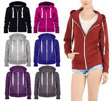 Womens Ladies Warm Fleece Plain Colour Hoodie Zip Up Jacket Jumper Hoody Top8-14