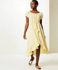 M&S Pure Linen Soft Yellow Waisted Midi Dress Size  14 BNWT