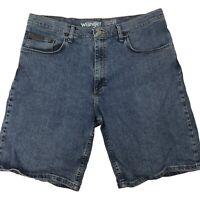 Wrangler Mens Advanced Comfort Flat Front Blue Denim Shorts Size 36
