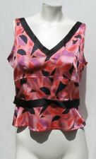 MARC JACOBS Pink Print Black Stretch Silk Fitted Sleeveless Blouse Shirt Top 10